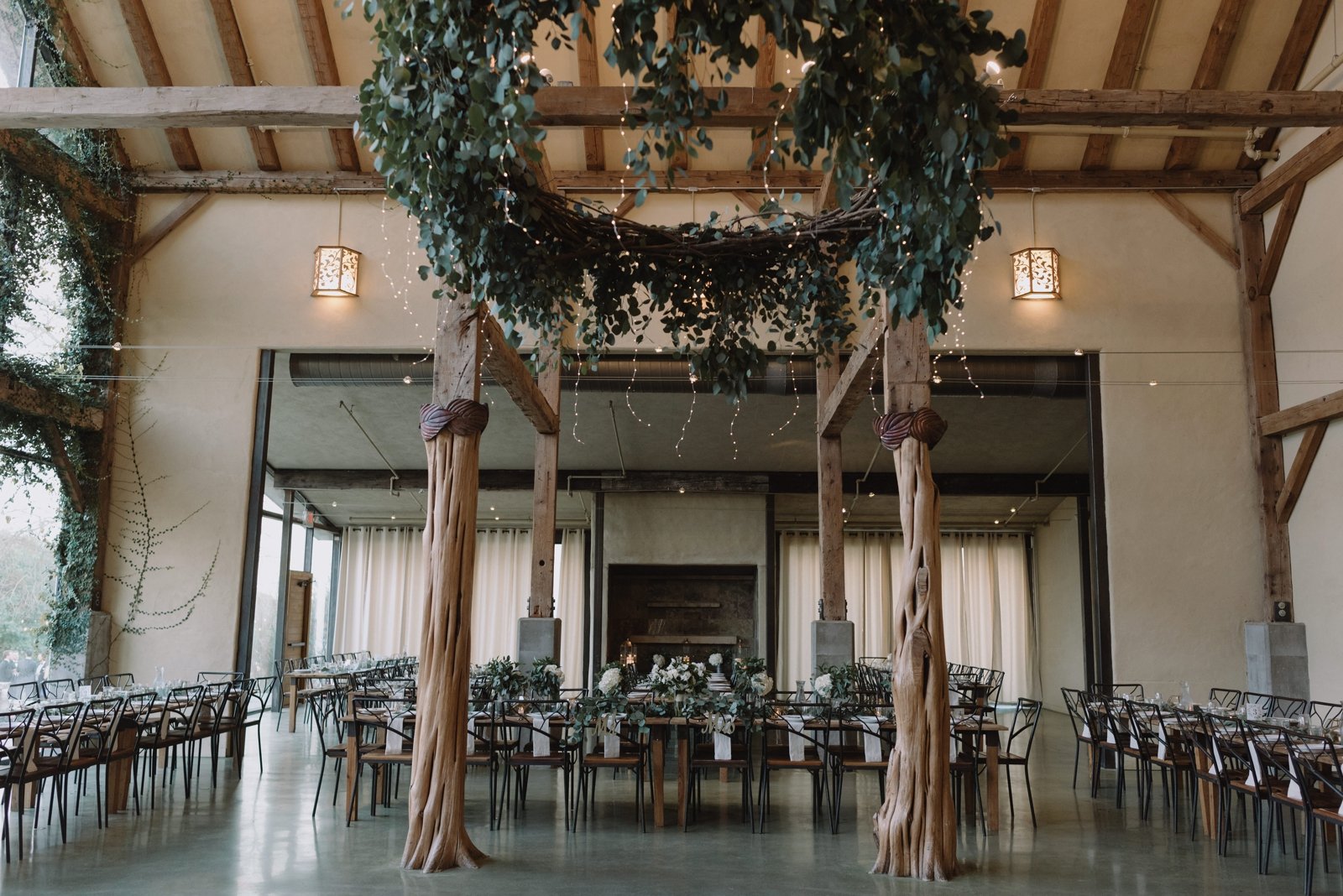 Greenery, eucalyptus leaf, wedding decor inspiration in the newly built ballroom at Barr Mansion