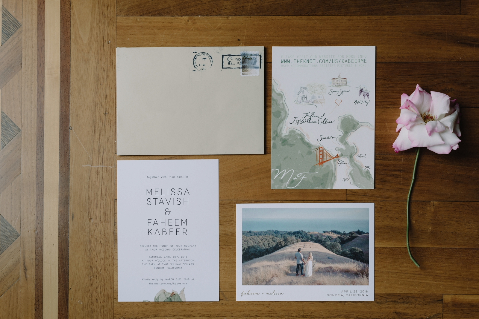 Invitations at a Sonoma wedding