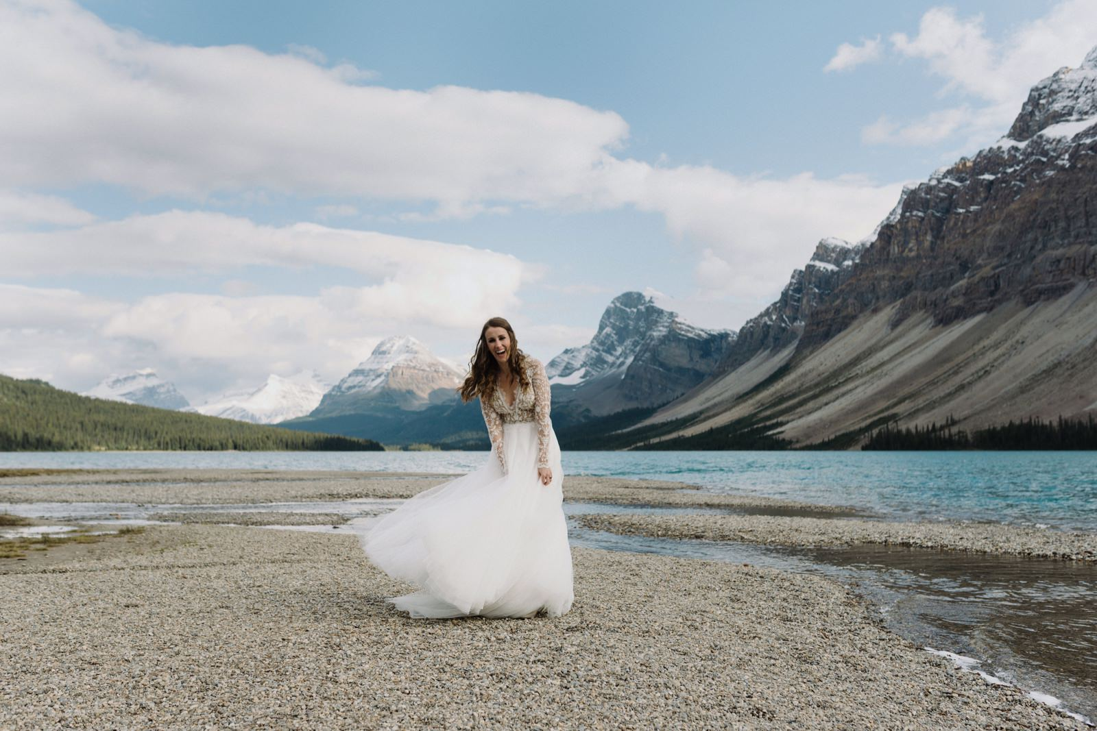 Bridal portrait session at Bow Lake In Banff National Park