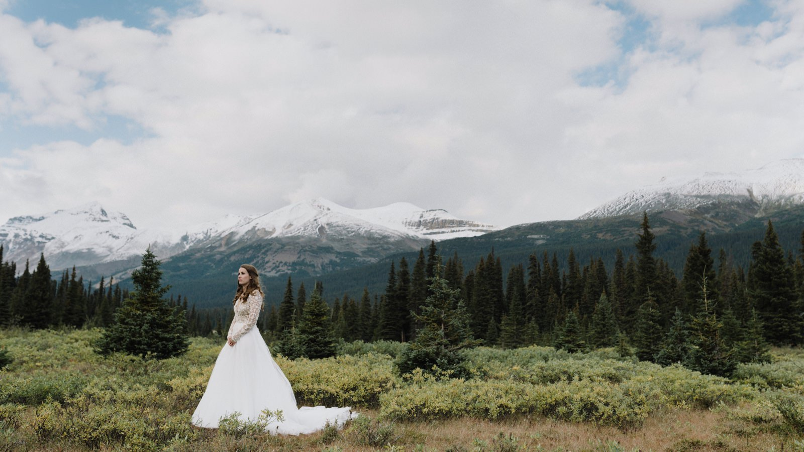 Bridals in a meadow near Bow Lake in Banff