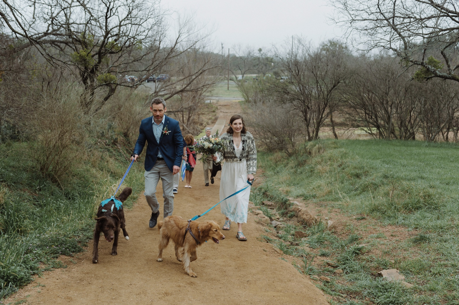 A foggy day for a dog-friendly hike up the trail in Enchanted Rock State Natural Area