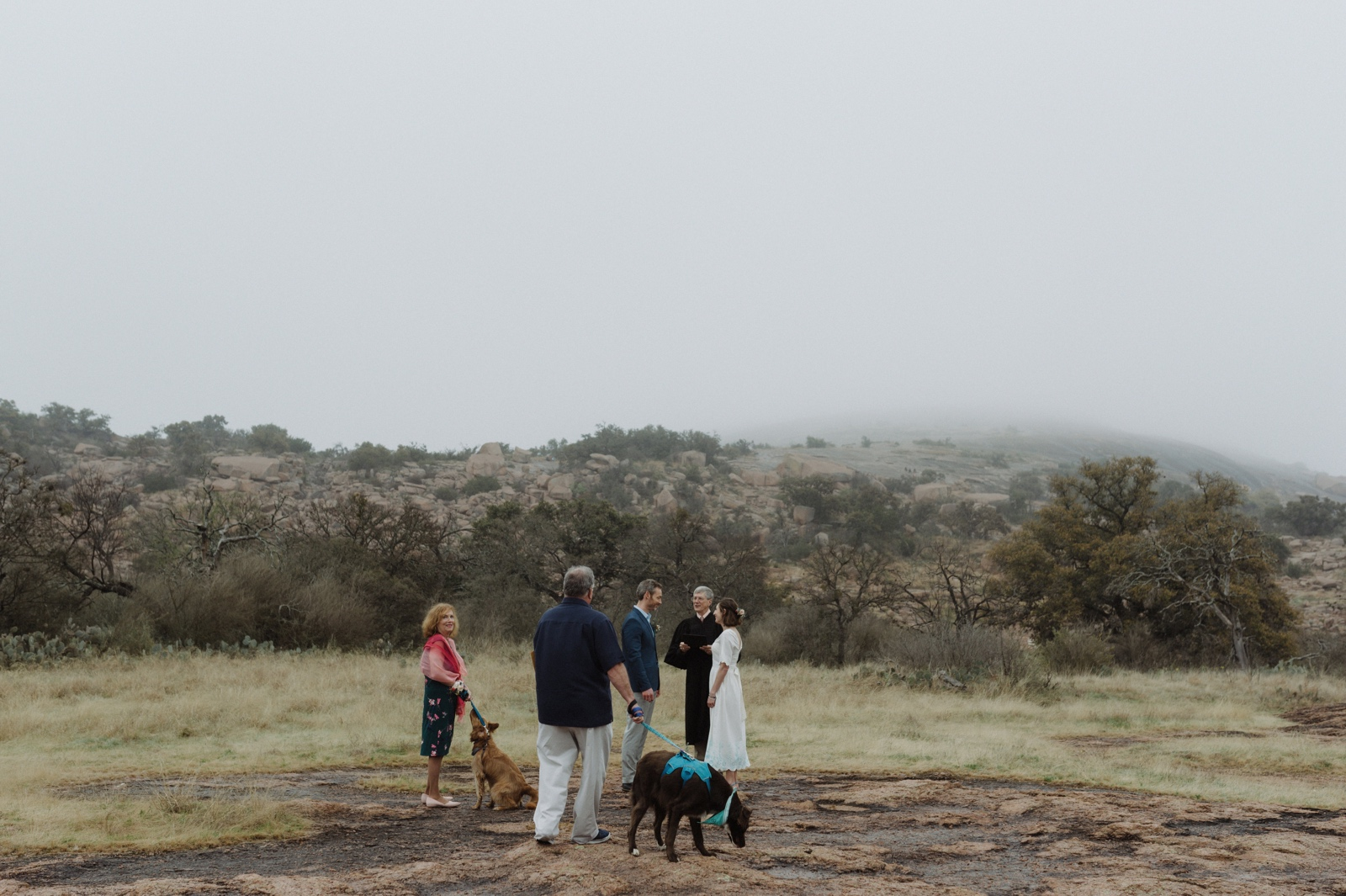 Intimate dog-friendly wedding at the base of Enchanted Rock