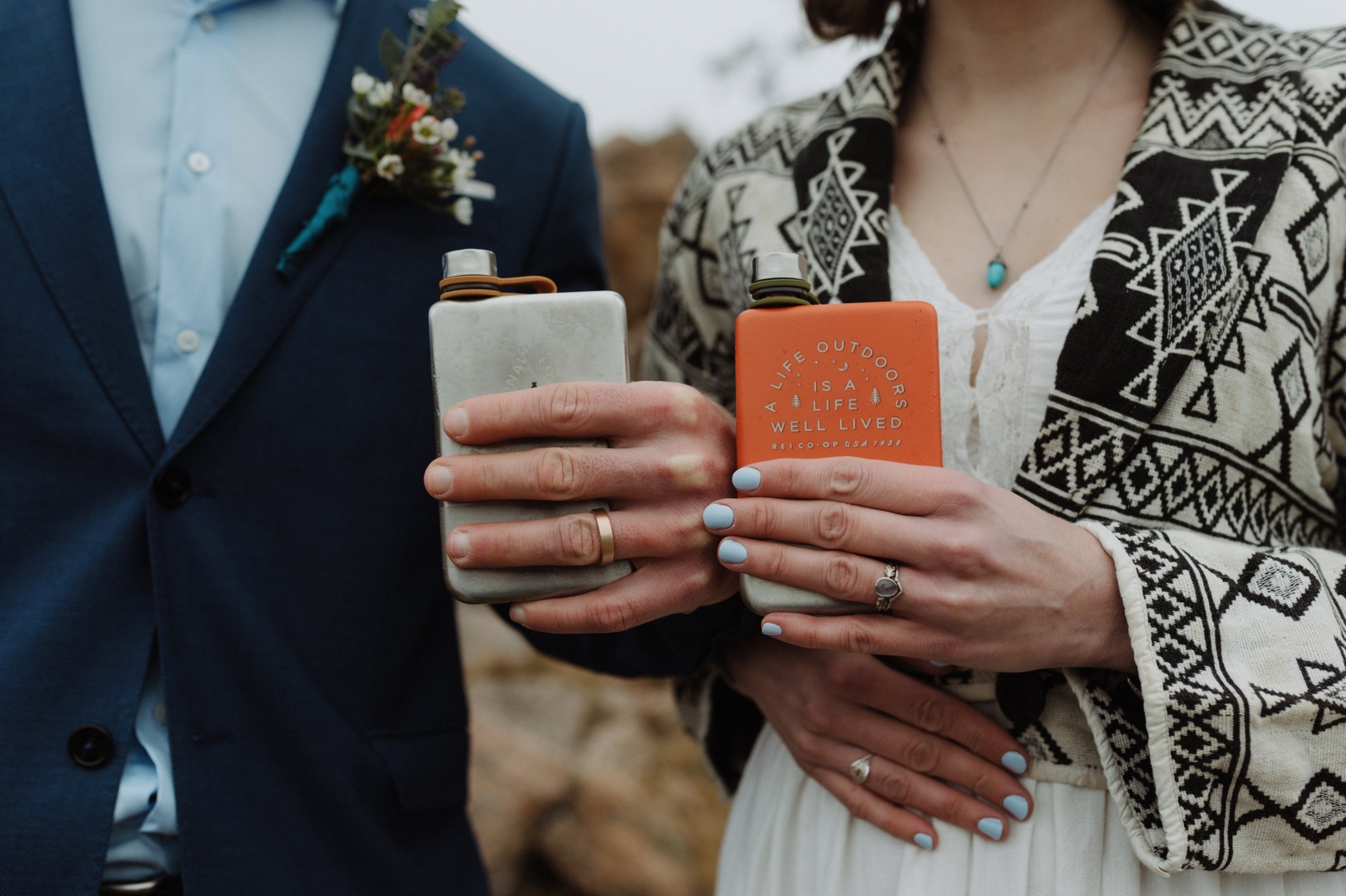 Custom elopement flasks for an intimate day at Enchanted Rock State Natural Area