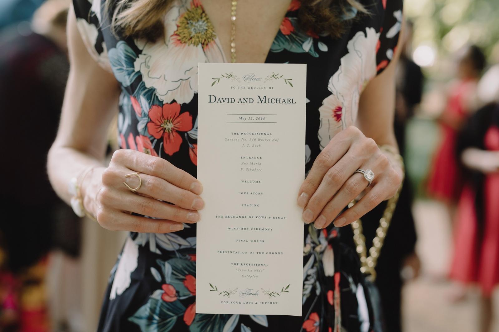 Wedding program layout idea for an Austin wedding