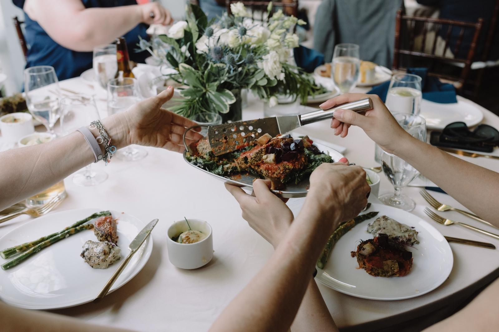 Family style wedding dinner in Austin