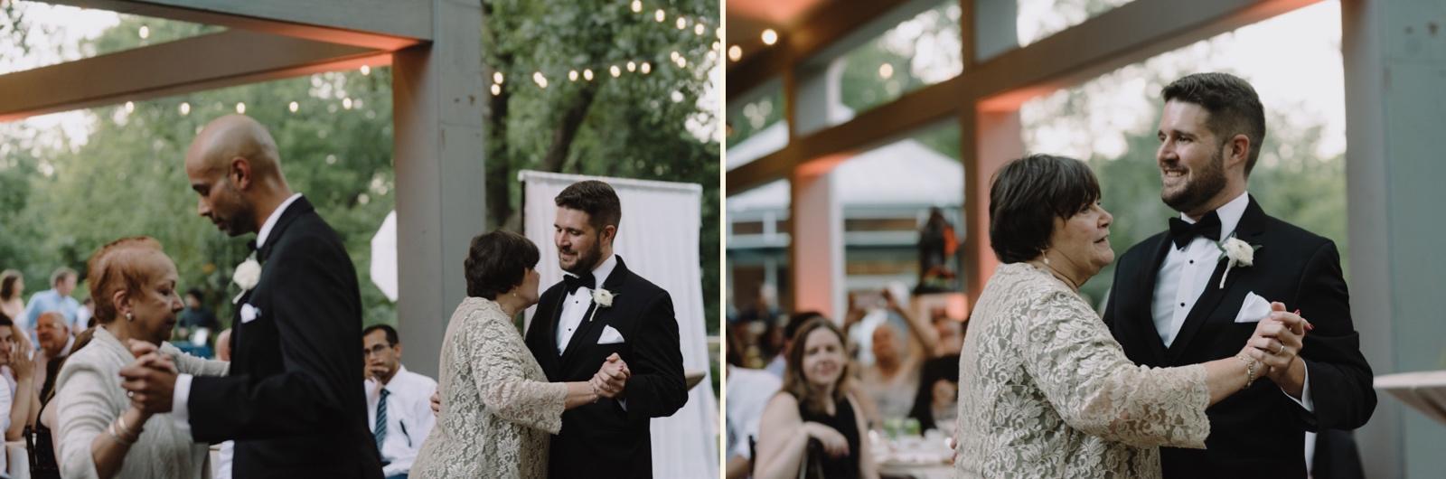 Father mother dance at a same sex wedding at the Umlauf Sculpture Garden in Austin