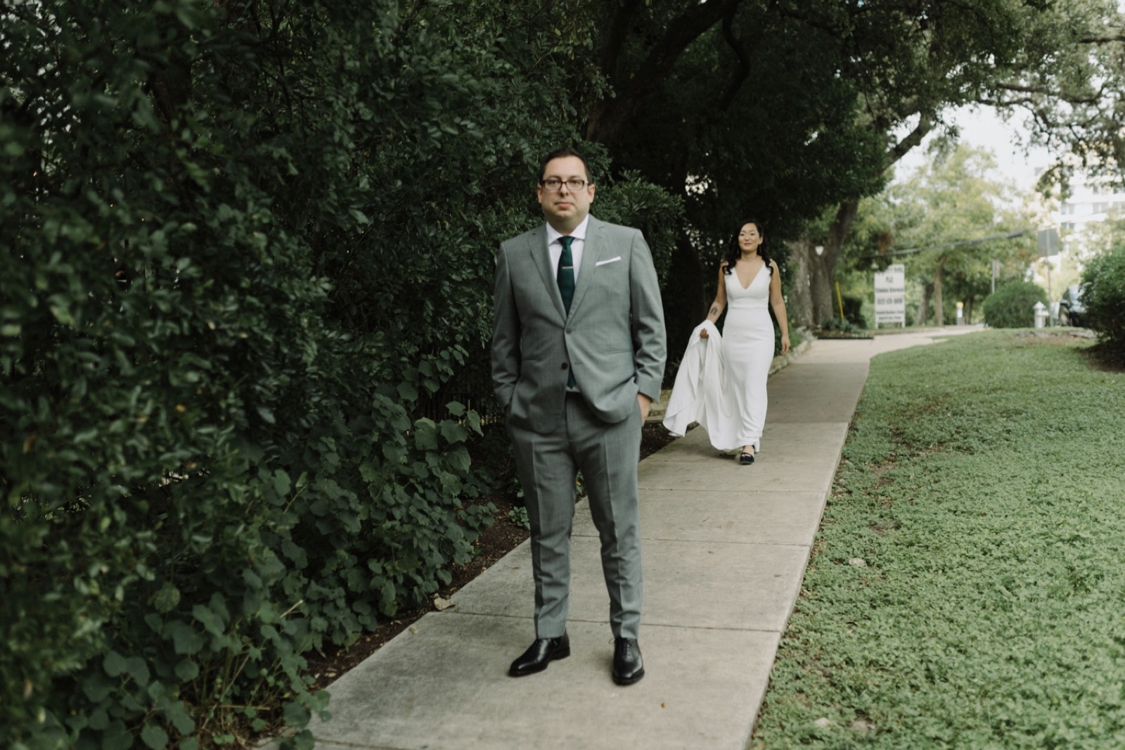 First look on the garden pathway outside of a historic house in Austin