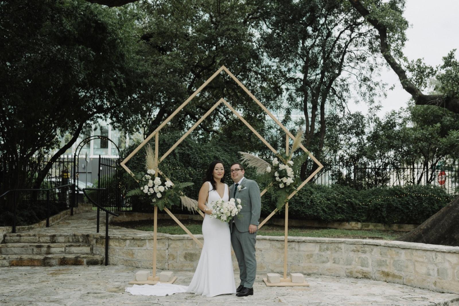 Golden geometric diamond altar inspiration in Texas