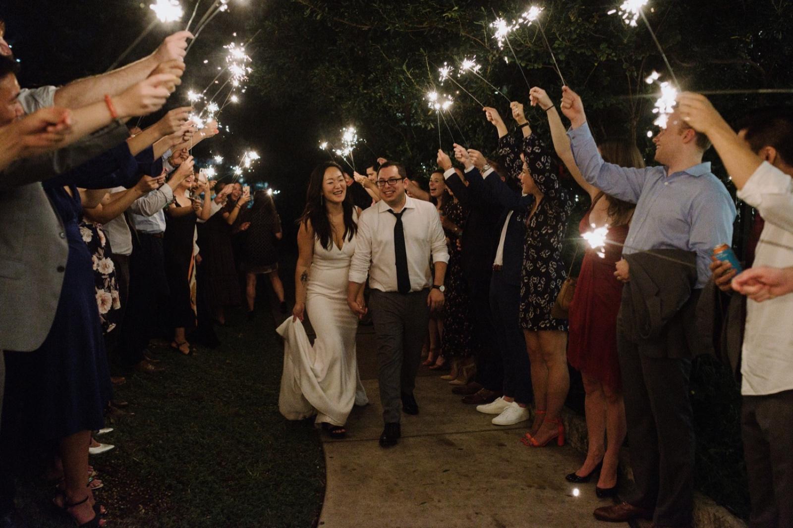 Joyous sparkler exit at the Allen House