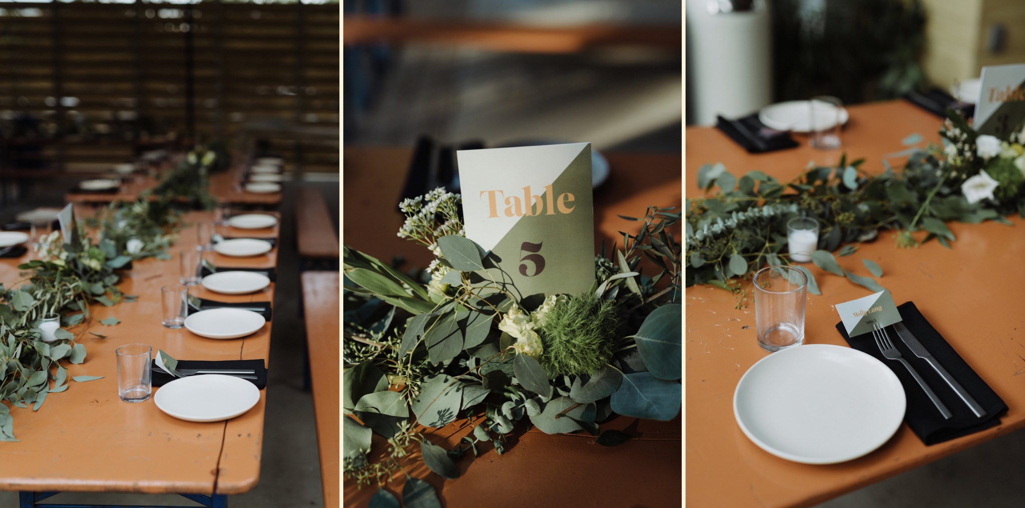 Foliage and greenery details with retro fonts at the family table style reception for a Carpenter Hotel wedding