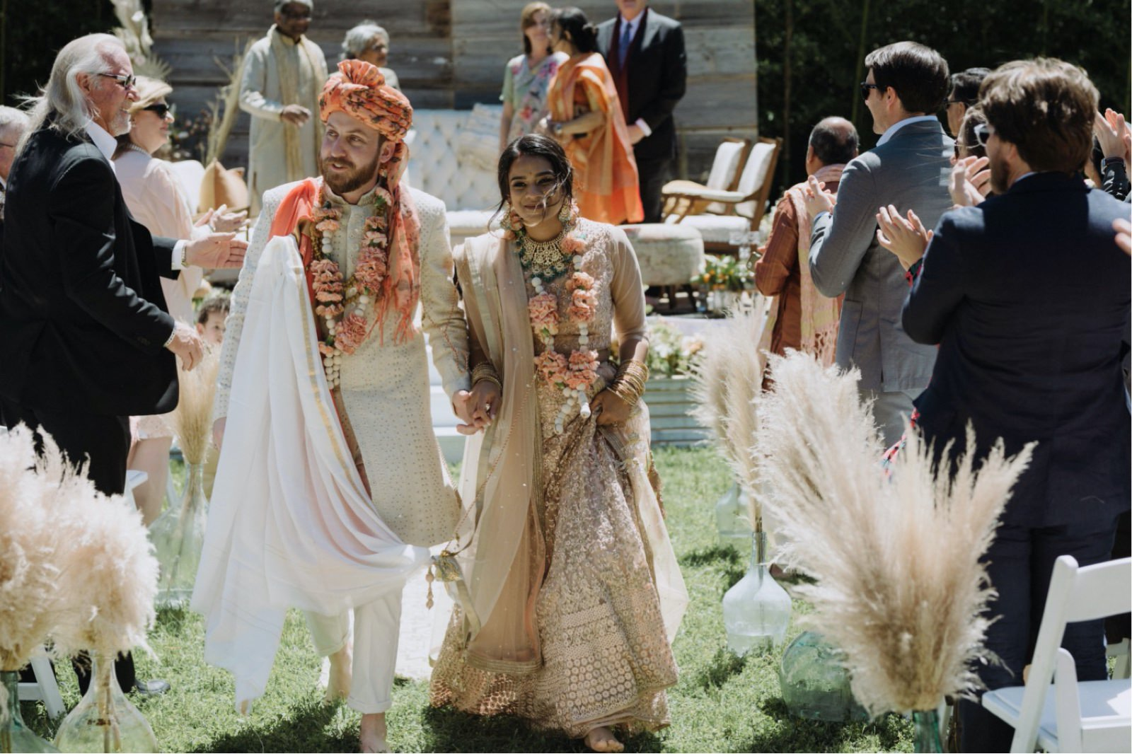 Wedding recessional of an Indian ceremony at a unique Austin venue