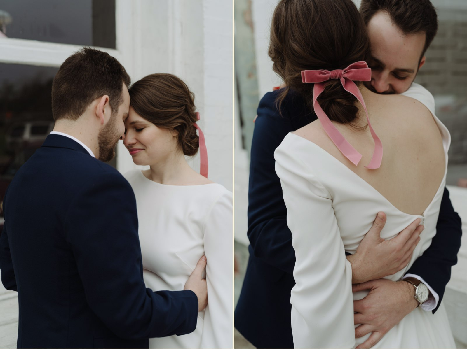 Bridal style with pink tied ribbon in an updo