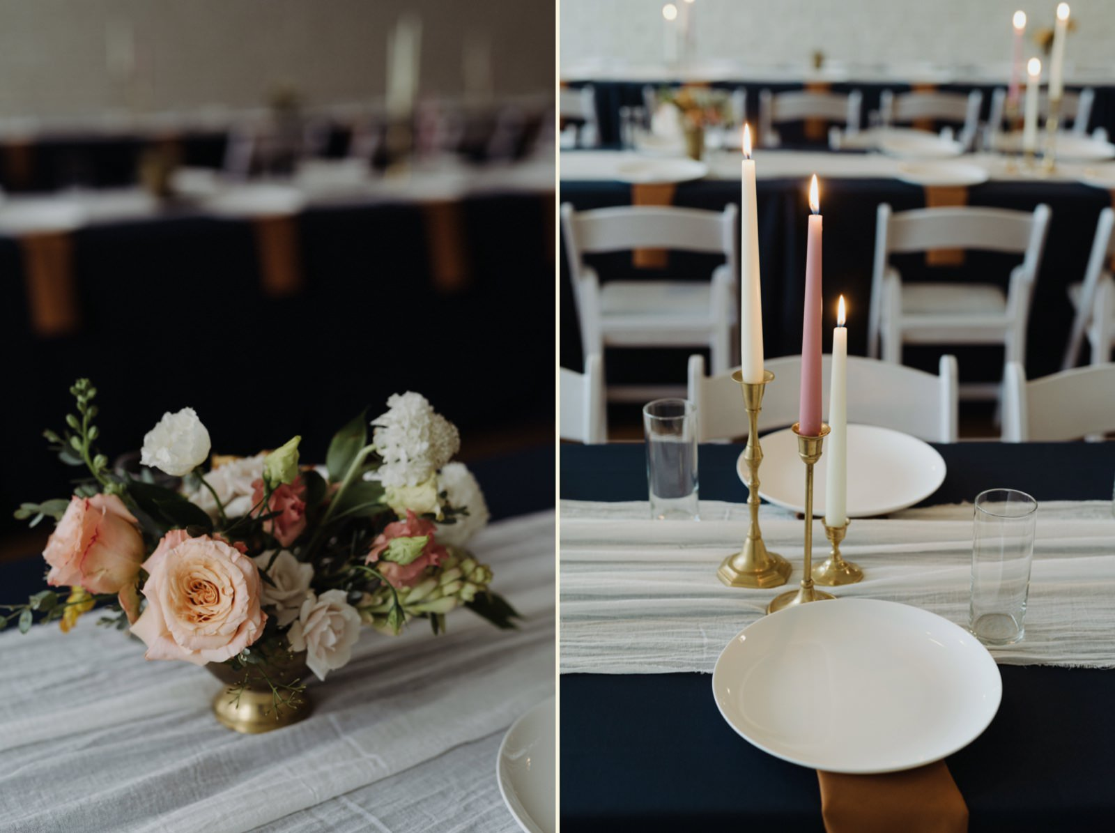 Coral, greenery and offwhite florals with golden candlesticks wedding decor inspiration