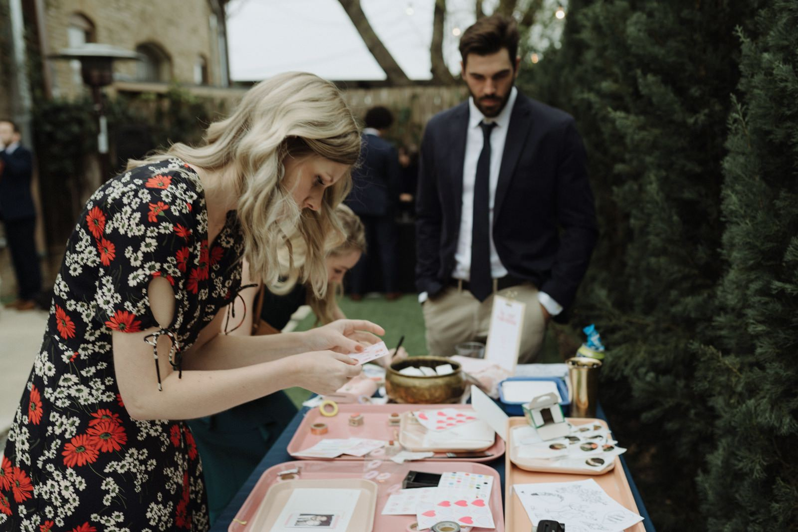 Crafting table for guests at an outdoor cocktail weddingreception