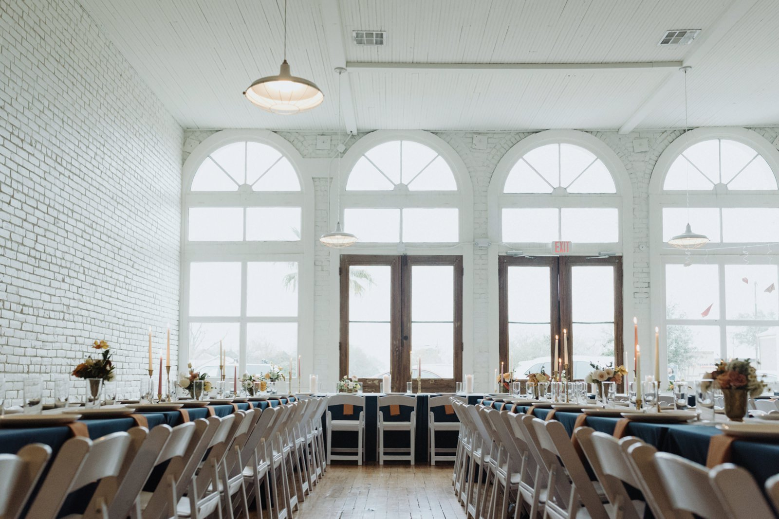Austin Wedding Venue One Eleven East's white walled reception space