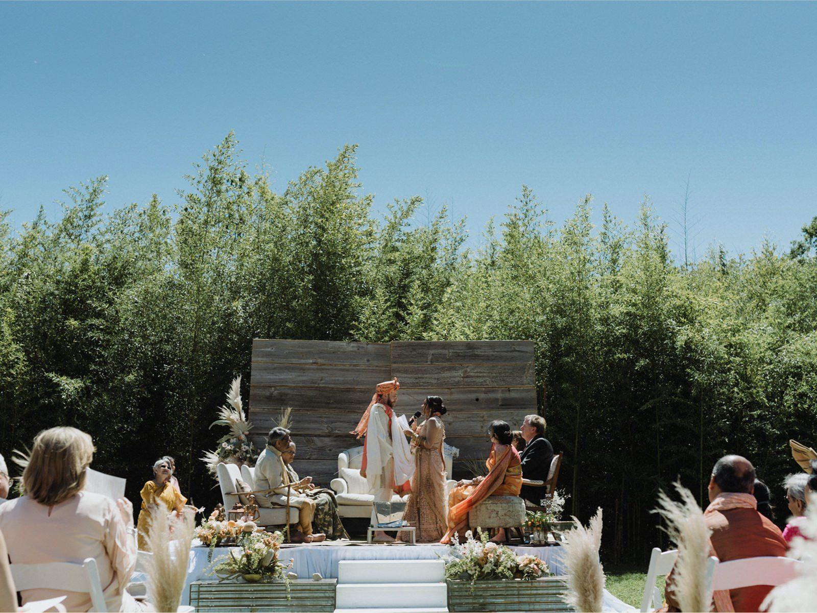 Alternative Austin wedding venue with bamboo backdrop of Mattie's