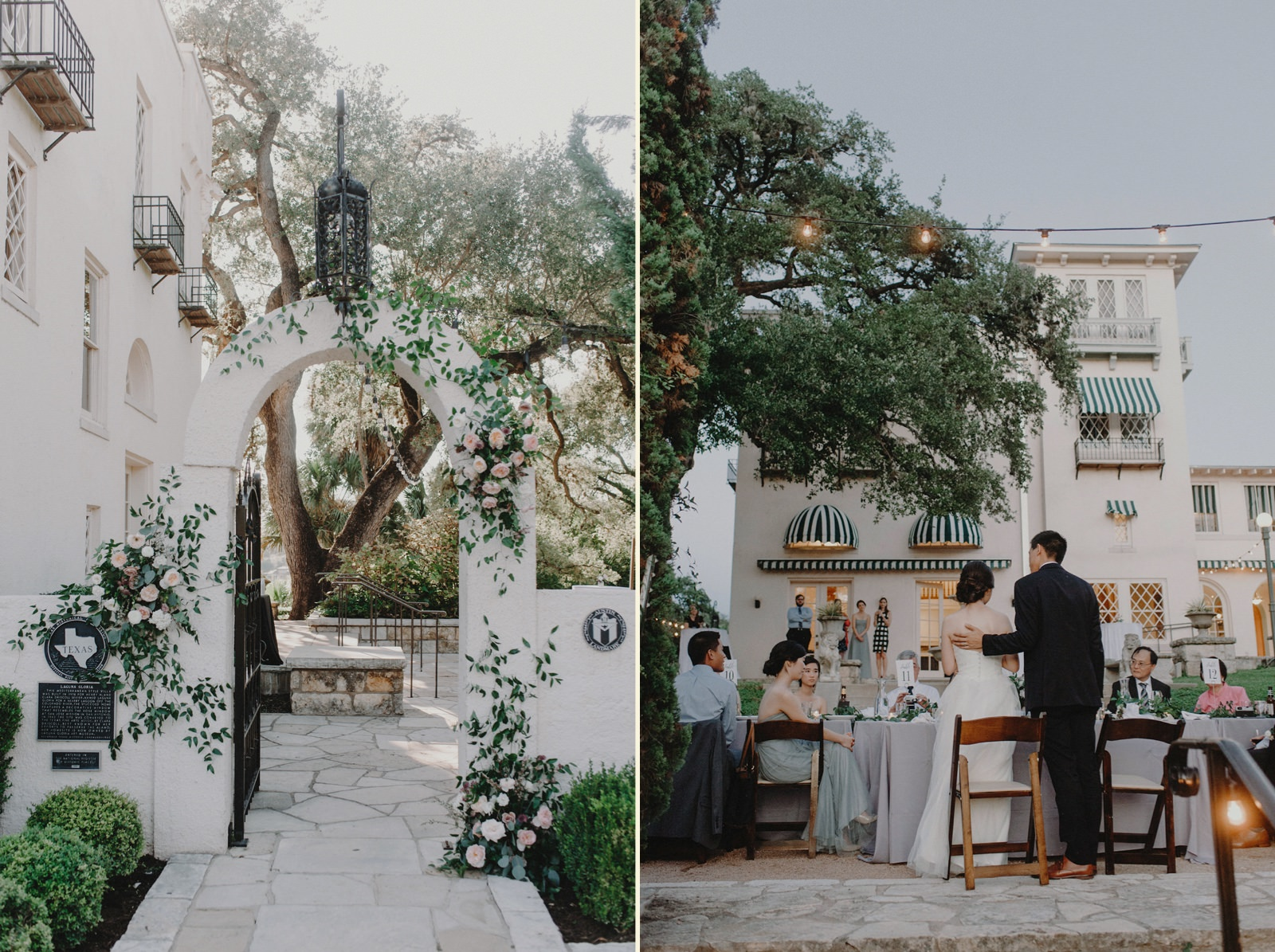 European-vibe Austin wedding venue Laguna Gloria with arch floral details and outdoor reception