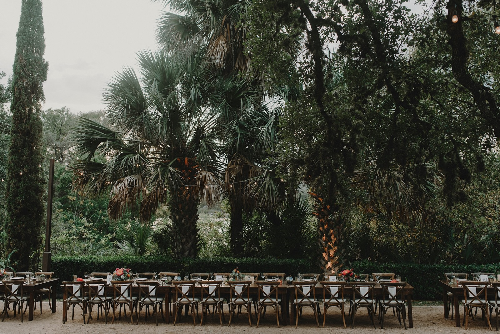 Garden party wedding reception space in Austin at Laguna Gloria