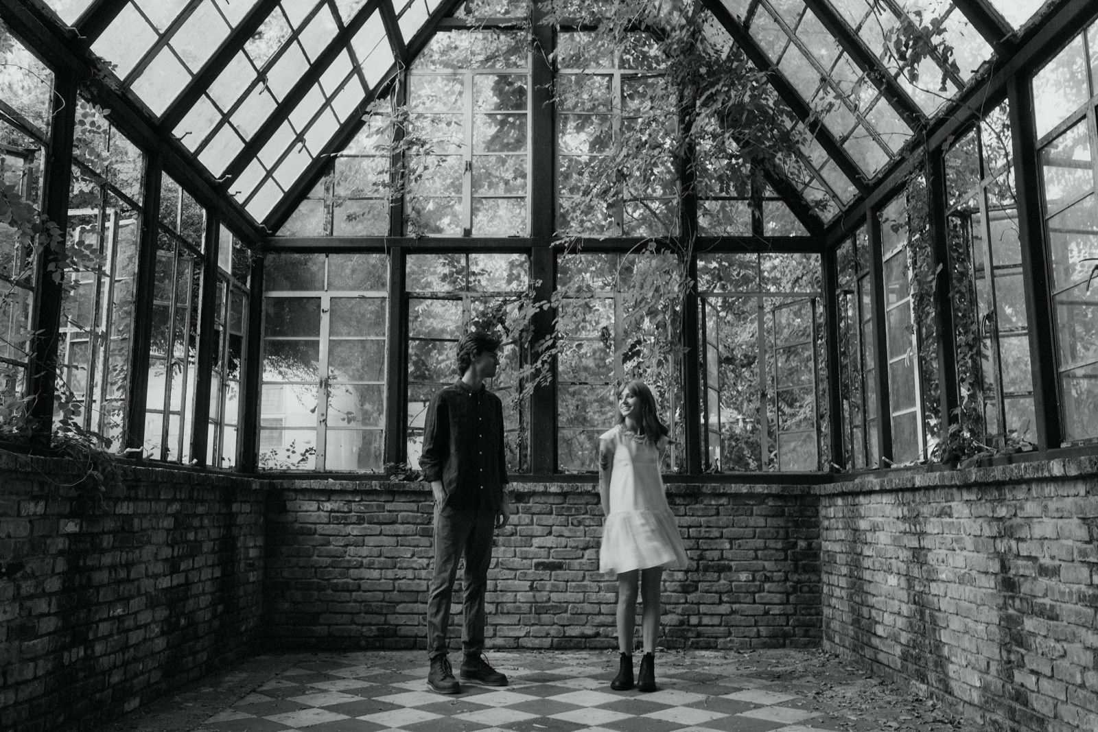 Classic black and white engagement session at Sekrit Theater in Austin