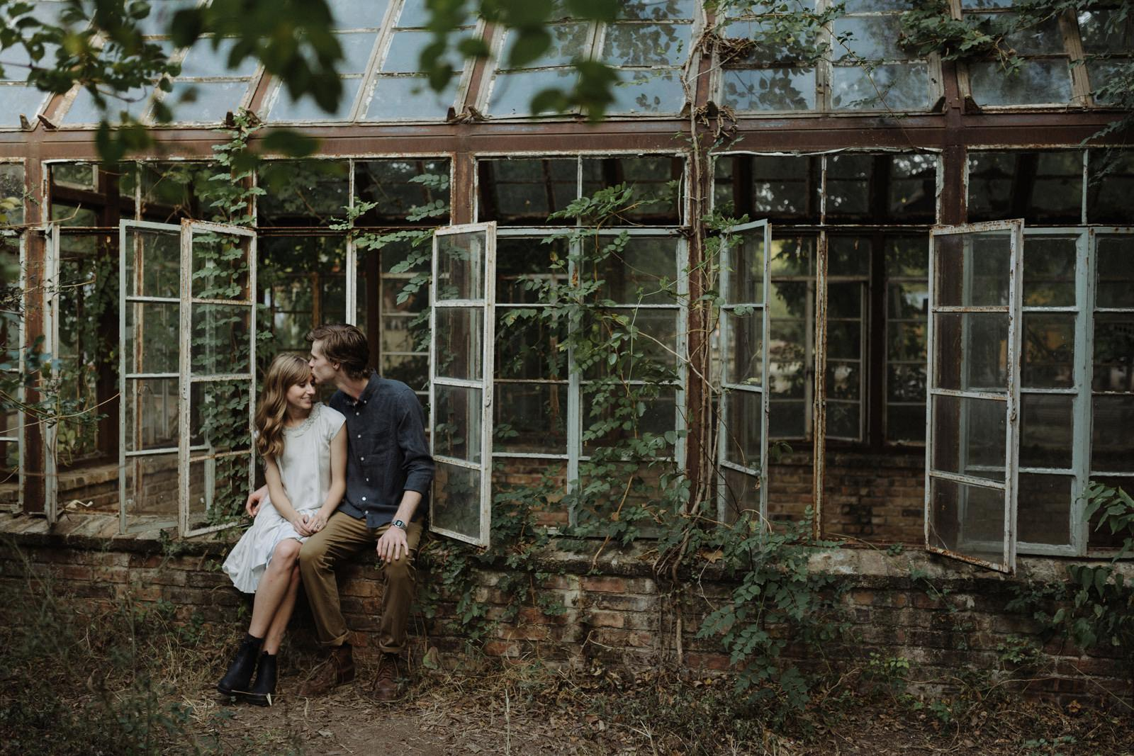 Intimate forehead kiss for a lifestyle engagement session at Sekrit Theater