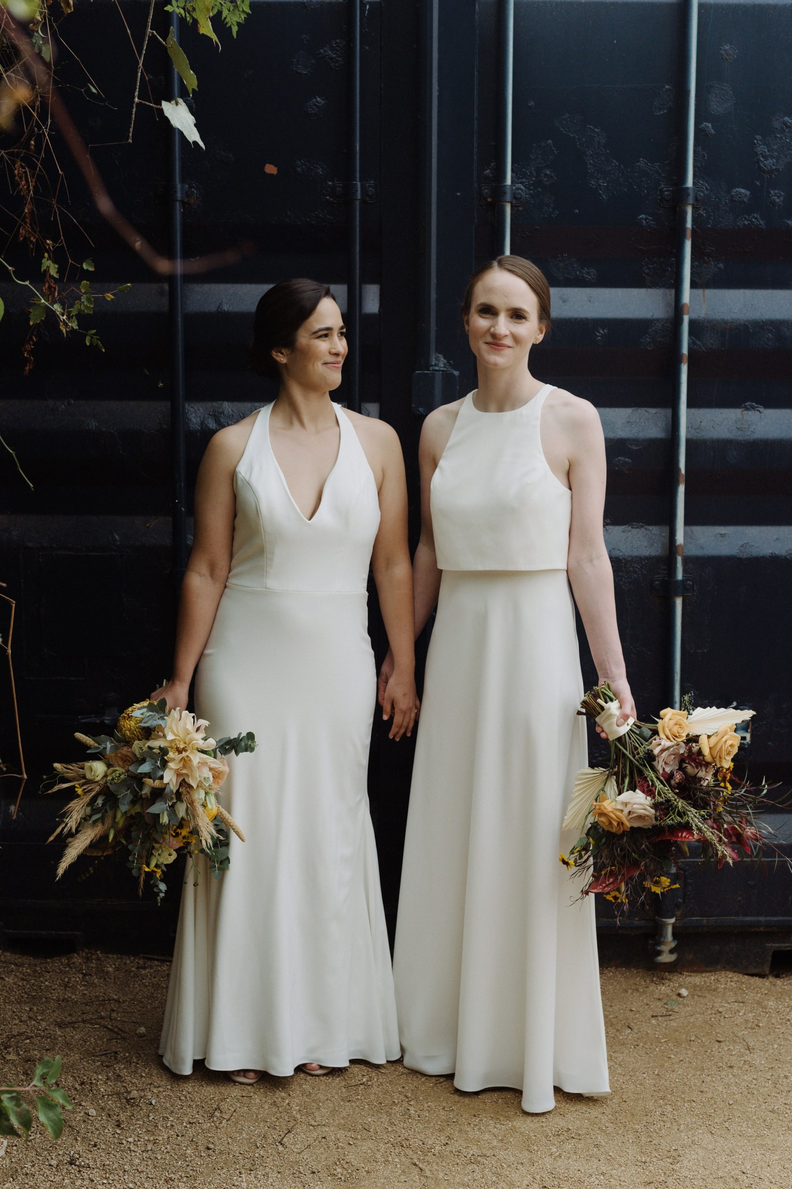 Complimentary bride style for a lesbian wedding at Springdale Station in East Austin