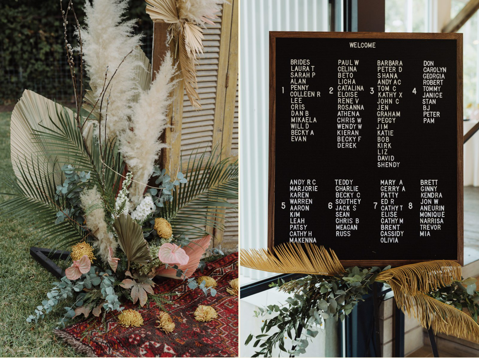 Complimentary floral altar and letterboard seating chart inspiration for a Springdale Station wedding