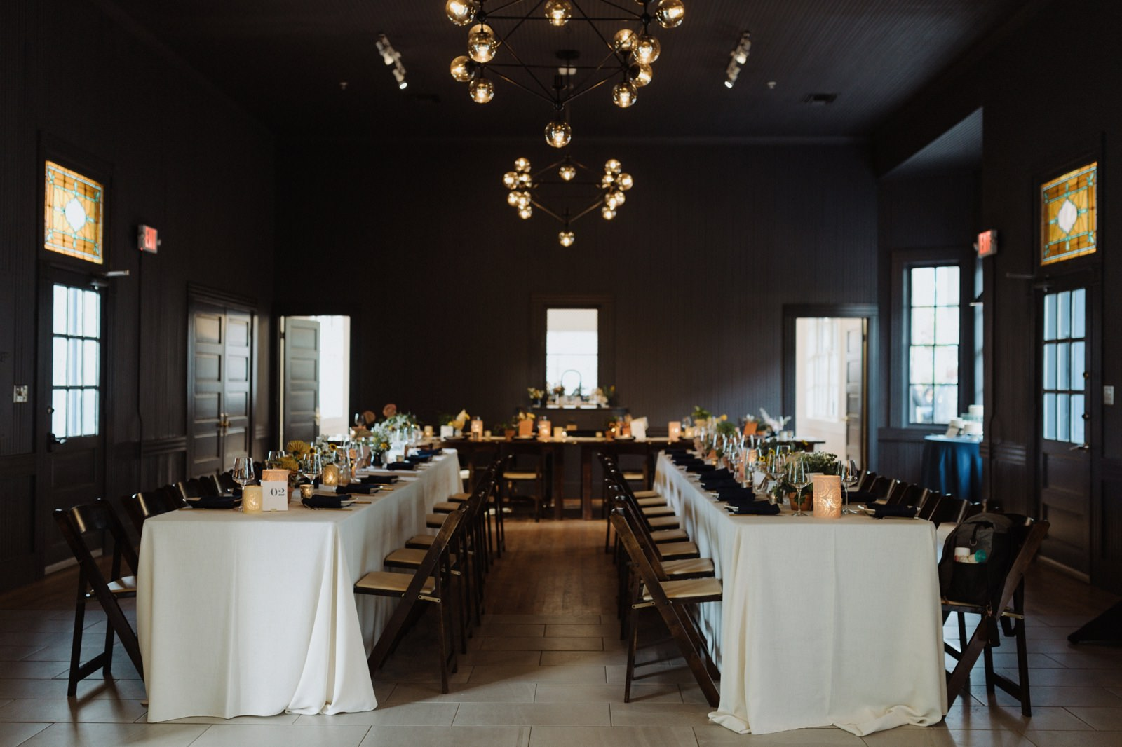 Navy, mustard and corral wedding reception inspiration at historic Springdale Station