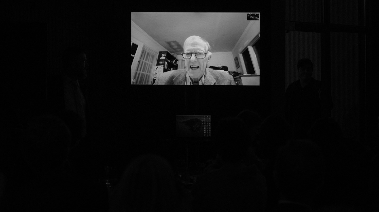 Father of the bride giving his Skype speech to his daughter and new daughter-in-law