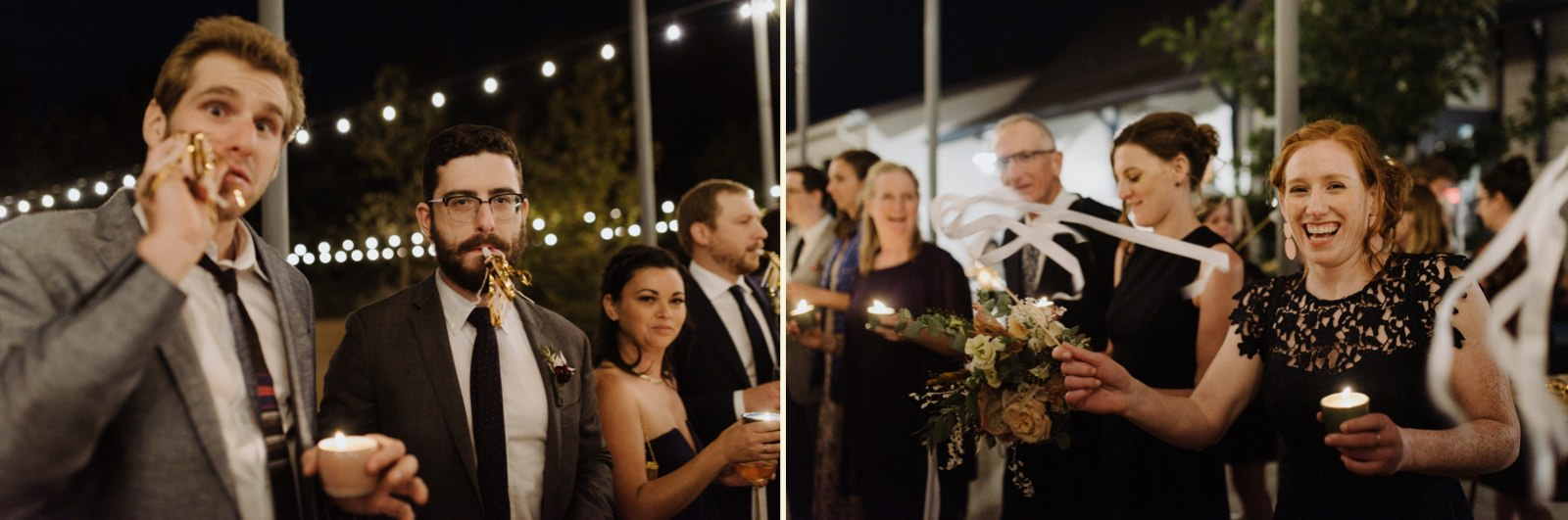 Guests enjoying a unique ribbon and noisemaker wedding exit in East Austin