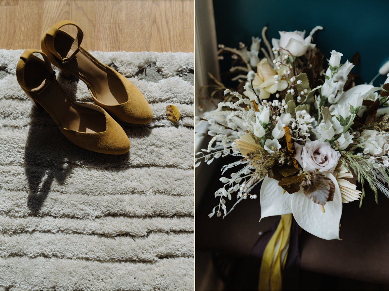 Mustard wedding heels details paired with matching earth toned florals with yellow ribbons