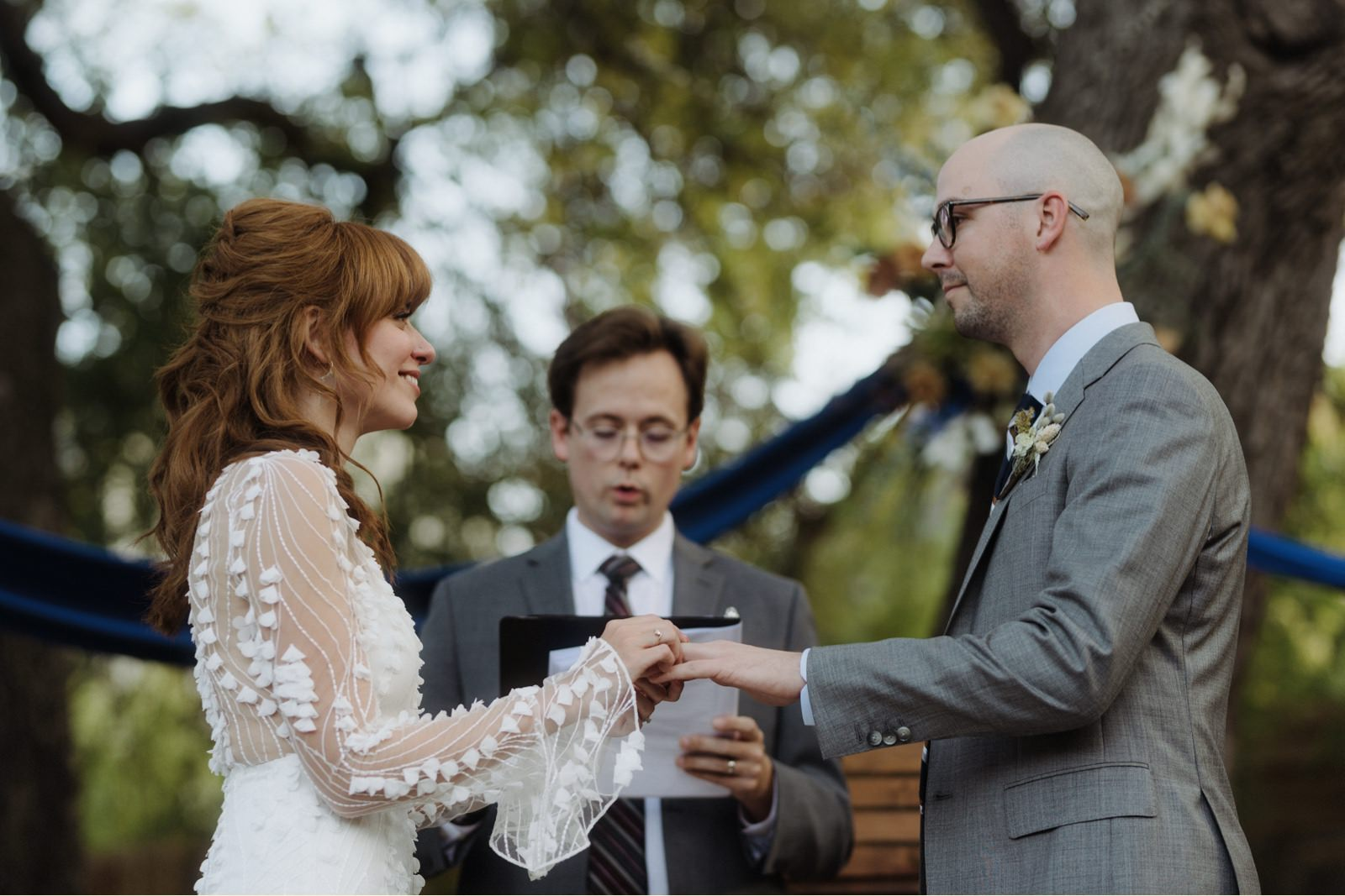 Bride and groom's ring exchange at Buka at Bouldin Creek