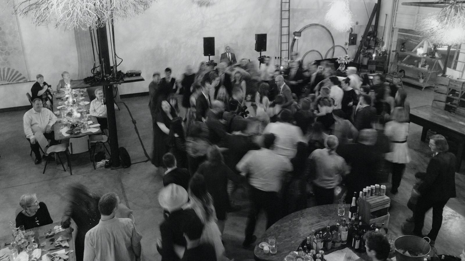 Wedding march ending of guests dancing around newly married couple at Vuka in Austin